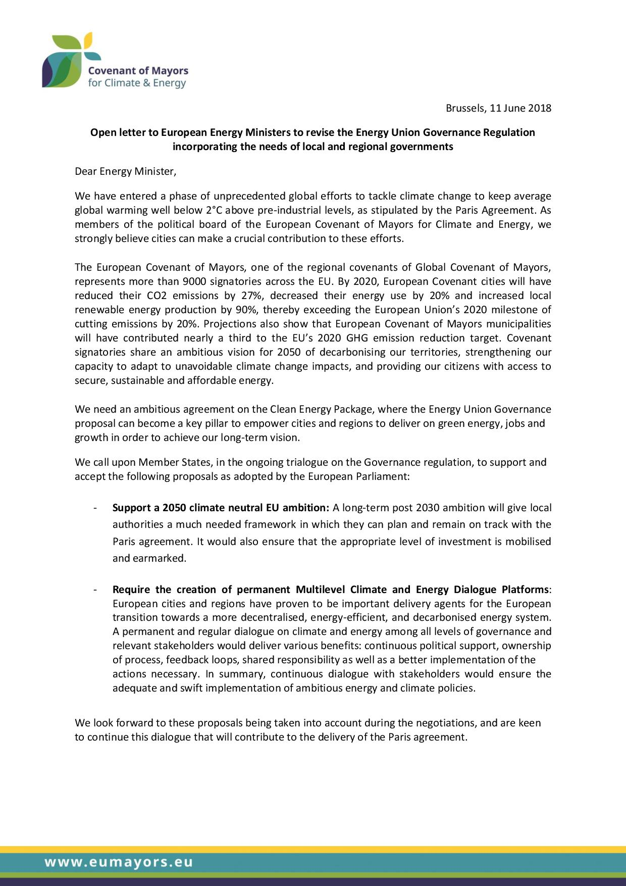 CoM Open letter to Energy Ministers Governance Regulation page 001